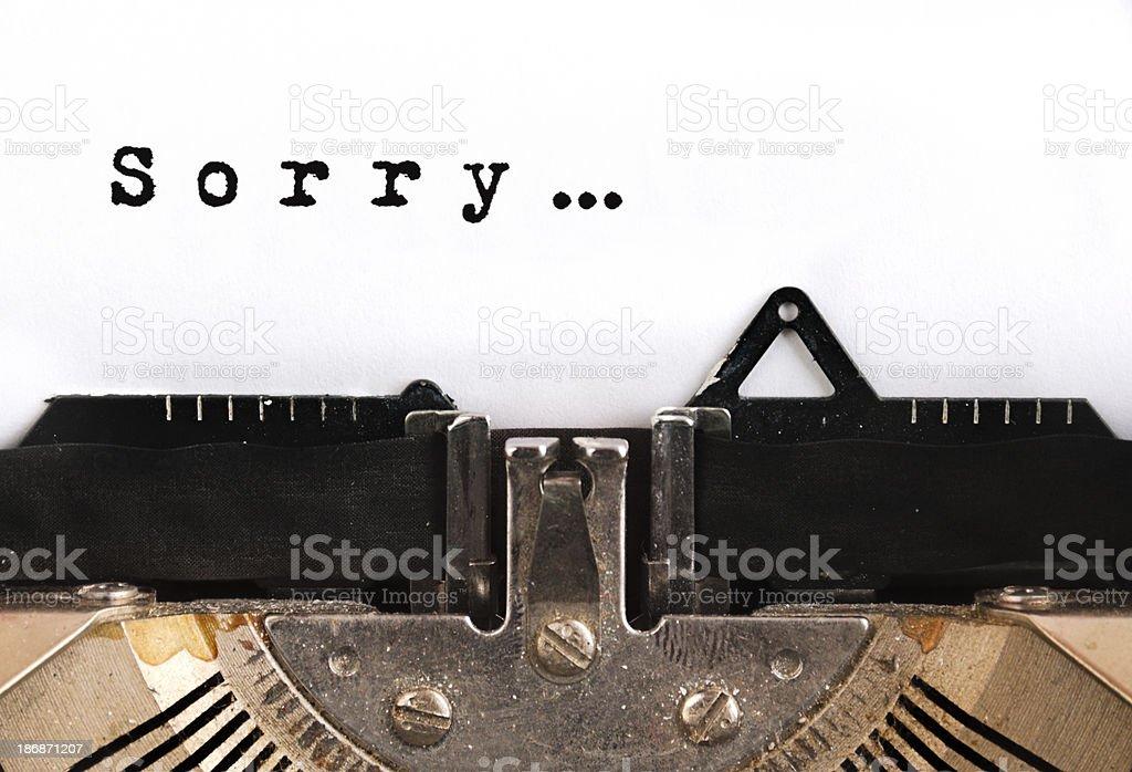 Sorry Typewriter stock photo