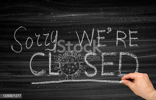 1213432934 istock photo Sorry we're CLOSED due to COVID-19 1220521277