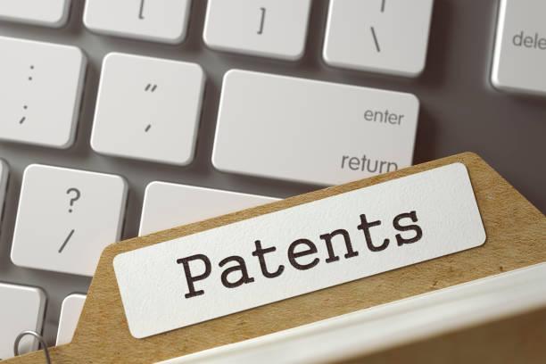 Art-Index-Karte mit Aufschrift Patente. 3D – Foto