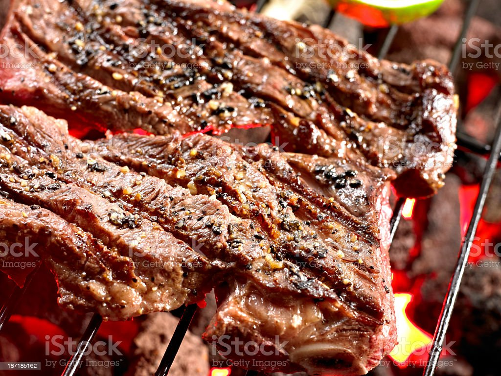 Sort Rib on Grill. stock photo