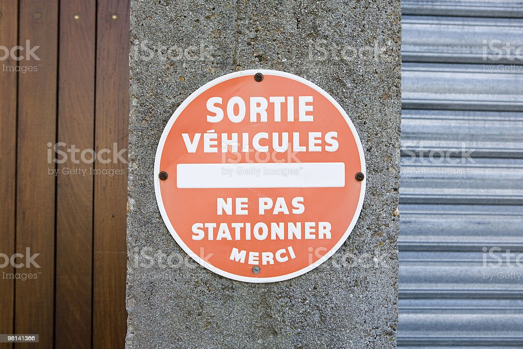 Sortie Vehicules French sign for vehicle exit royalty-free stock photo