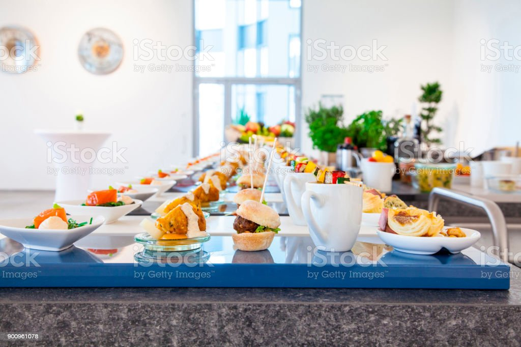 Sortiment of appetizers on a buffet stock photo