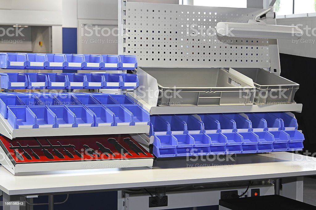Sorting bins stock photo