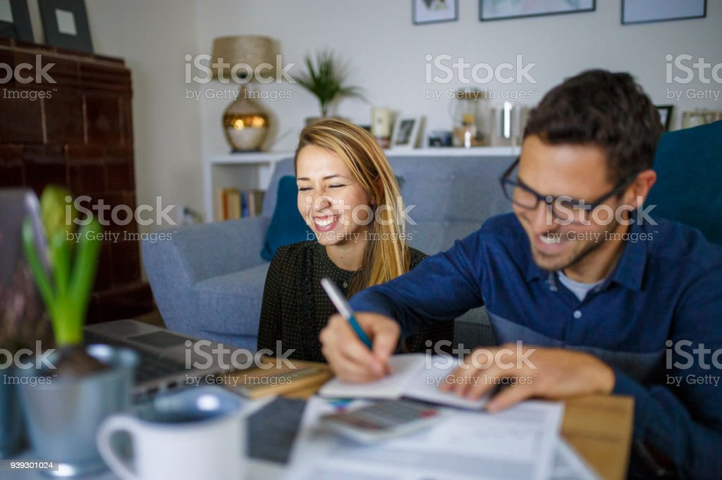Sorting home finances stock photo