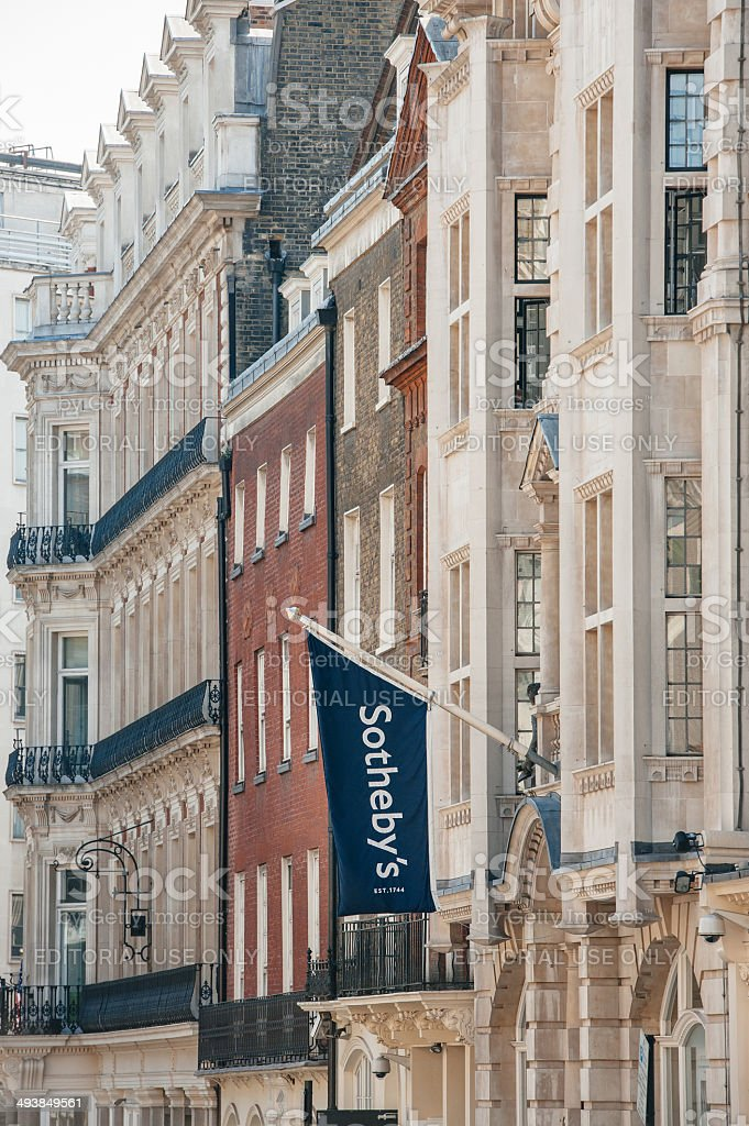 Sotheby's flag above London Office stock photo