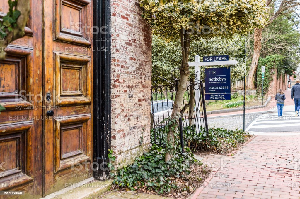 Sotheby's for lease property sign in Georgetown neighborhood stock photo