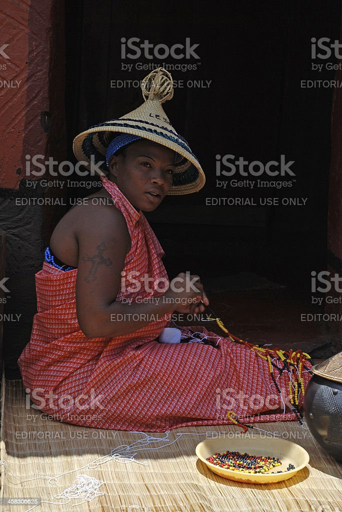 Sotho woman at the Lesedi Cultural Village (South Africa). stock photo