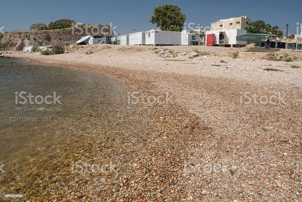 Souda refugee camp on the Greek Island of Chios stock photo