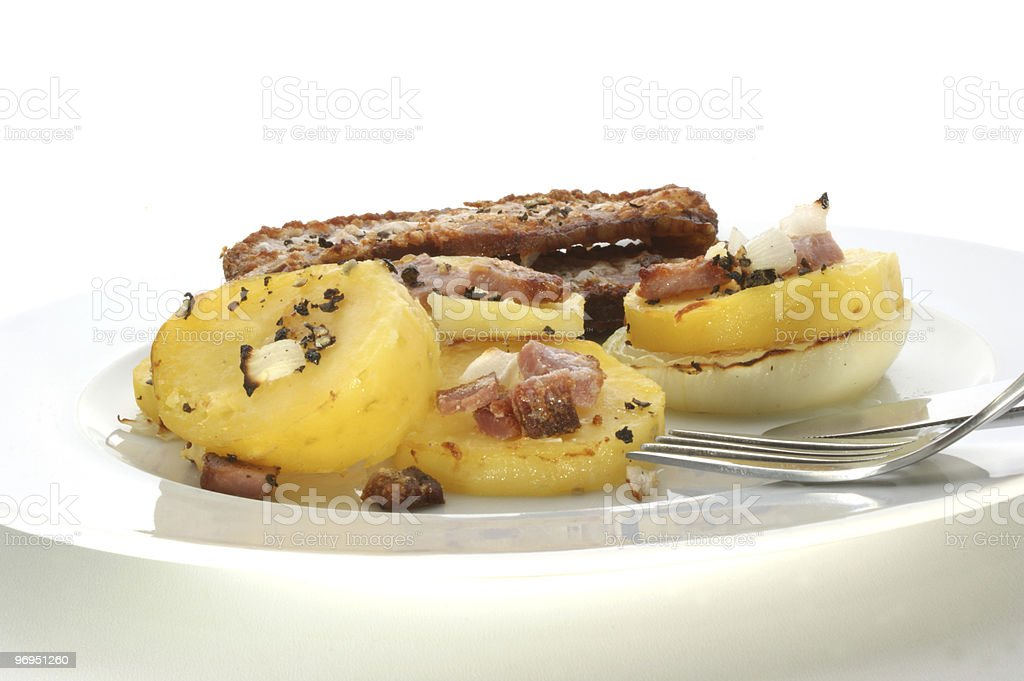 souffle, backed organic potato and smoked ham royalty-free stock photo