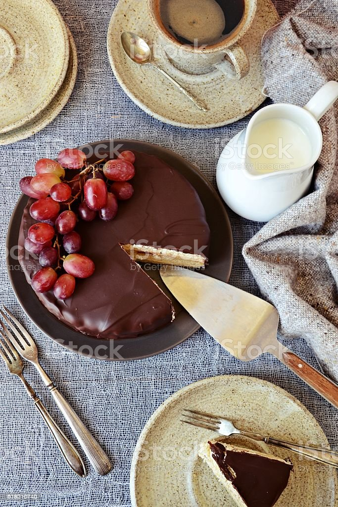 Souffle cake with chocolate, top view stock photo