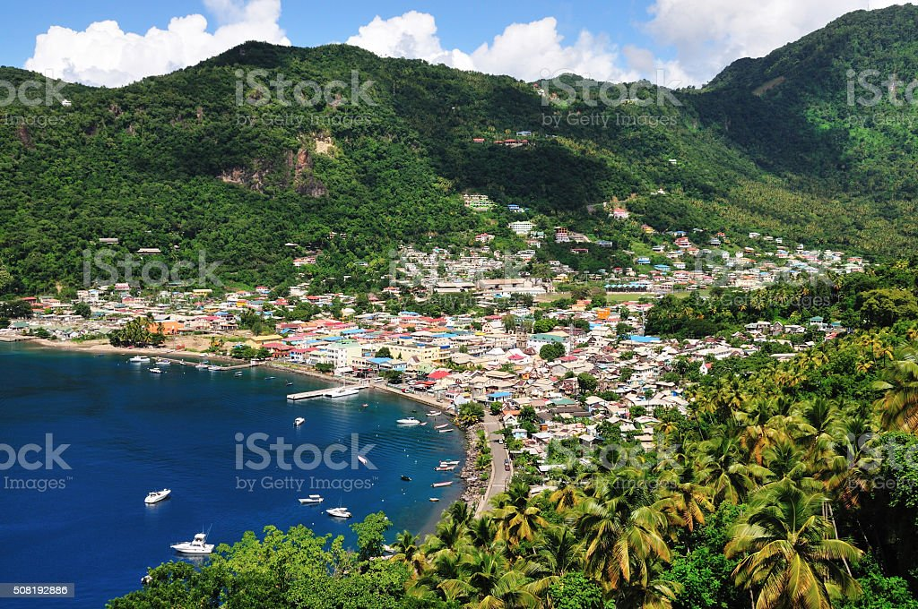 Soufriere between the mountains stock photo