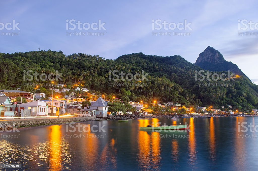 Soufriere St Lucia; breathtaking Piton scenery and bay at dusk stock photo
