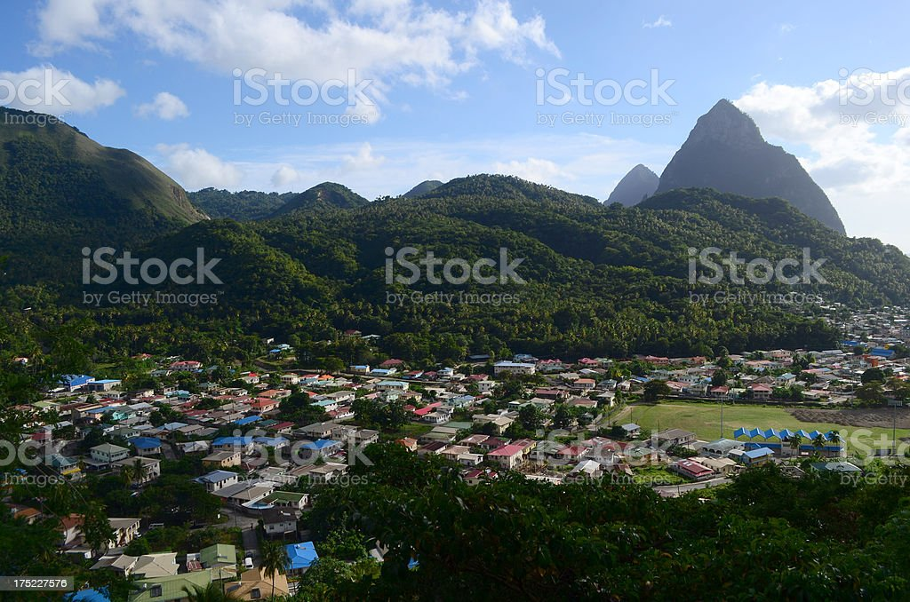 soufriere town and pitons St Lucia stock photo