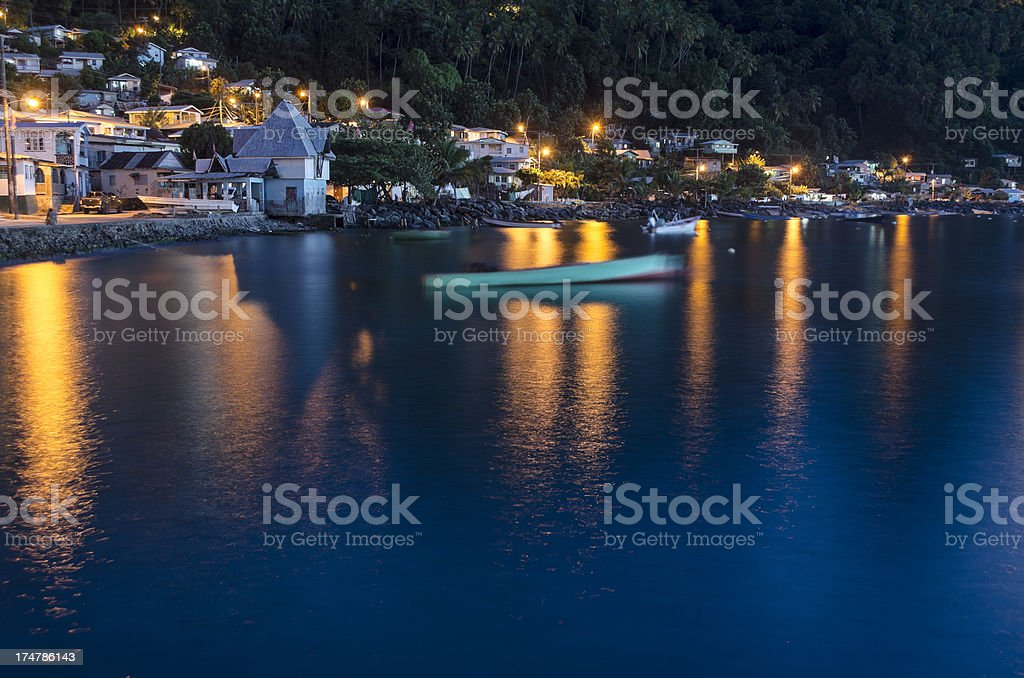 Soufriere town waterfront at night stock photo