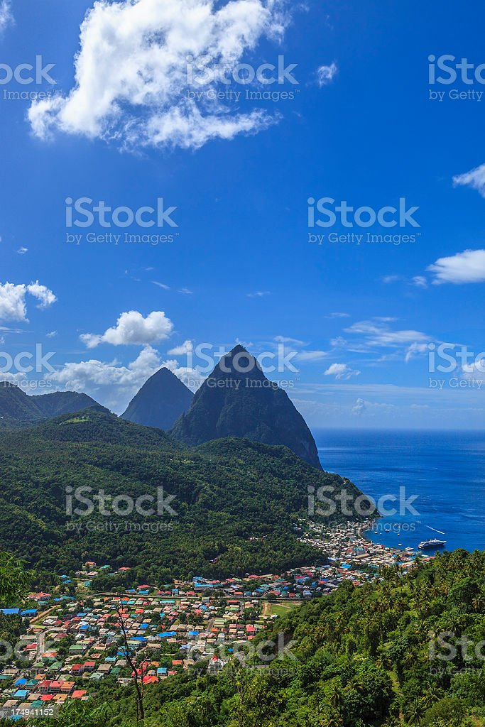 Soufrière and Pitons, St. Lucia stock photo