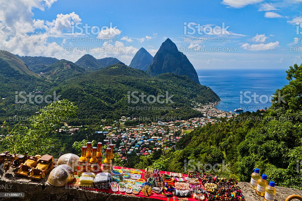 Soufriére and Pitons, St. Lucia stock photo