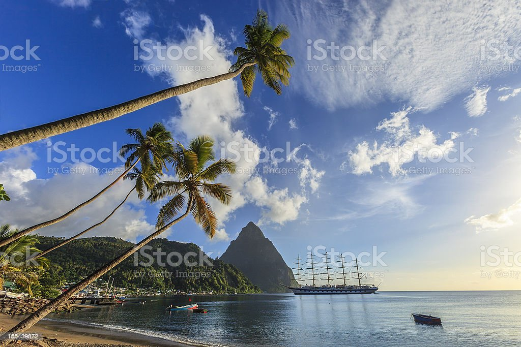 Soufrière Bay, Saint Lucia stock photo