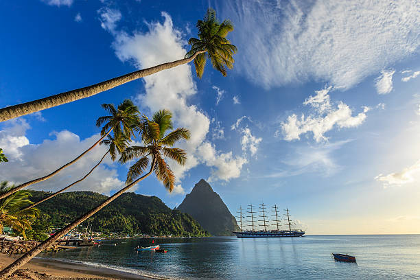 soufrière bay, saint lucia - rocky coastline stock pictures, royalty-free photos & images