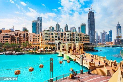 DUBAI, UAE - FEBRUARY 25, 2019: Souk Al Bahar is an arabian market located near the the Dubai Mall in UAE