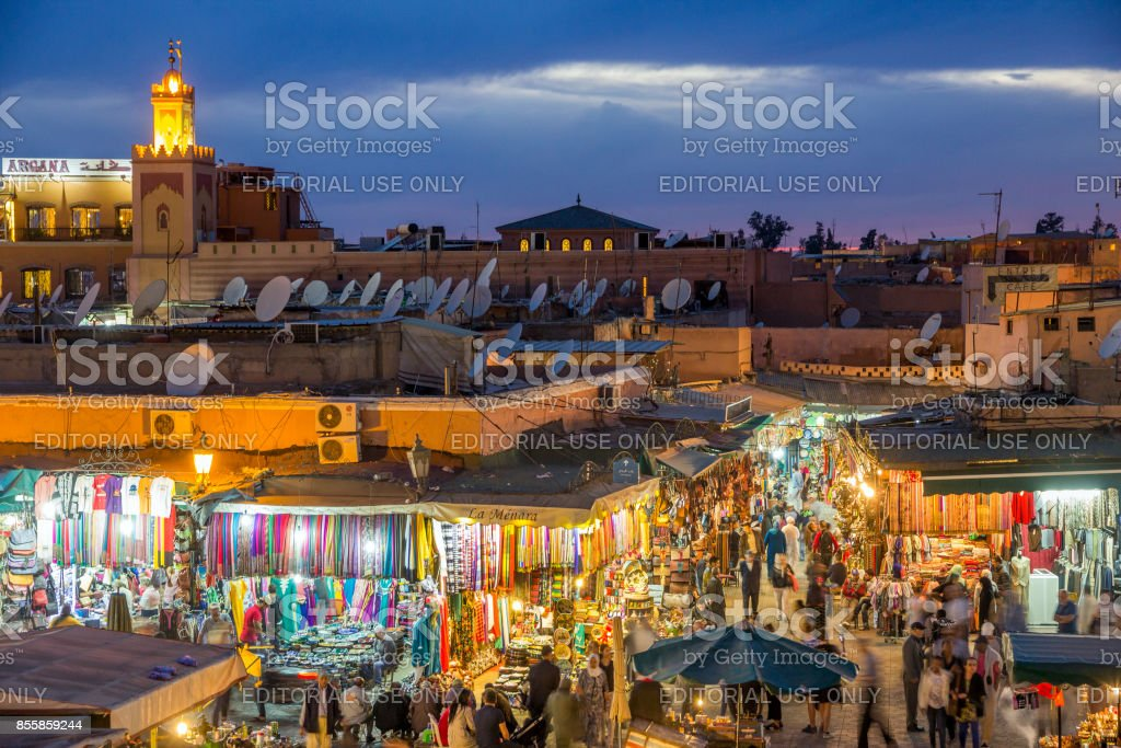 Souk shops Marrakesh Morocco stock photo