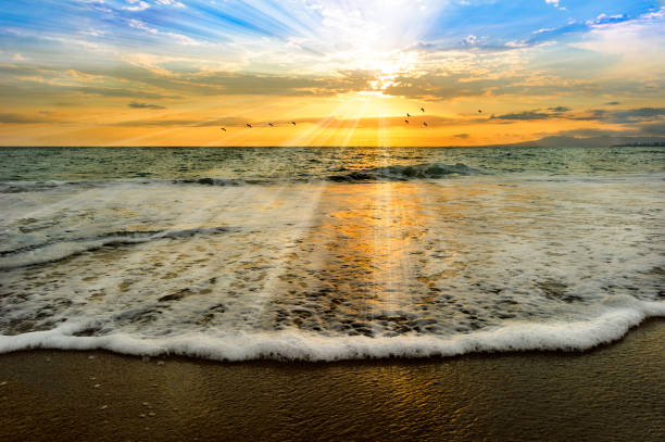seele ocean light taufe sonnenuntergang - taufe fotos stock-fotos und bilder