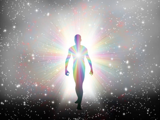Soul Passing Man in rainbow light and stars reincarnation stock pictures, royalty-free photos & images