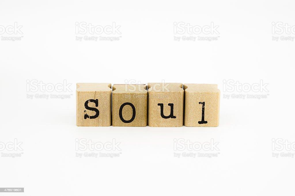 Soul wording isolate on white background stock photo