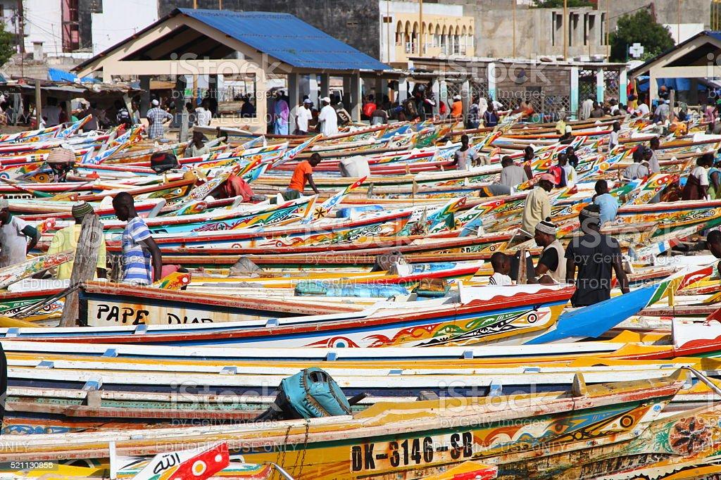 Soumbedioune fish market in Dakar, Senegal stock photo