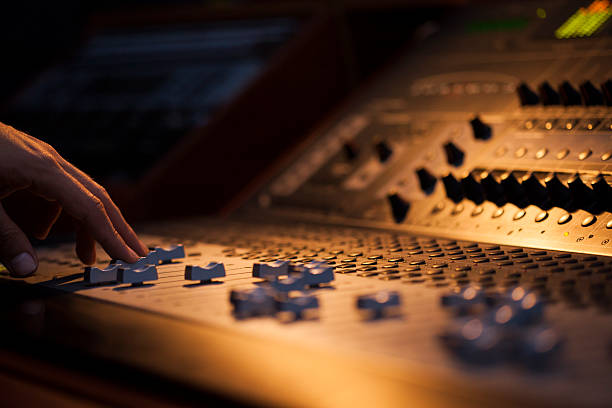 Sound Board Macro Close-up sound Mixer producer stock pictures, royalty-free photos & images