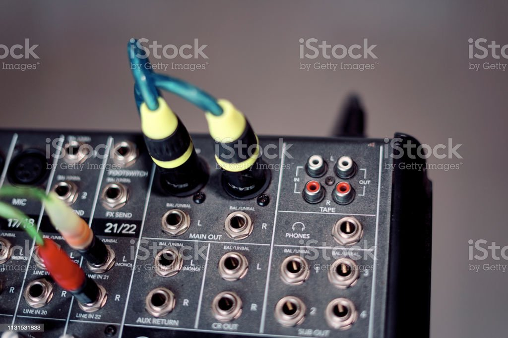 Xlr Sound Connector Plug In To Audio Mixer Stock Photo