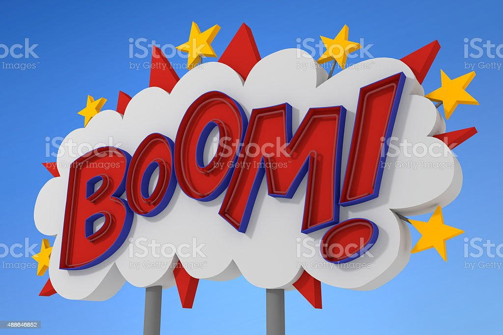 Boom Sound Effect Neon Sign Stock Photo - Download Image Now