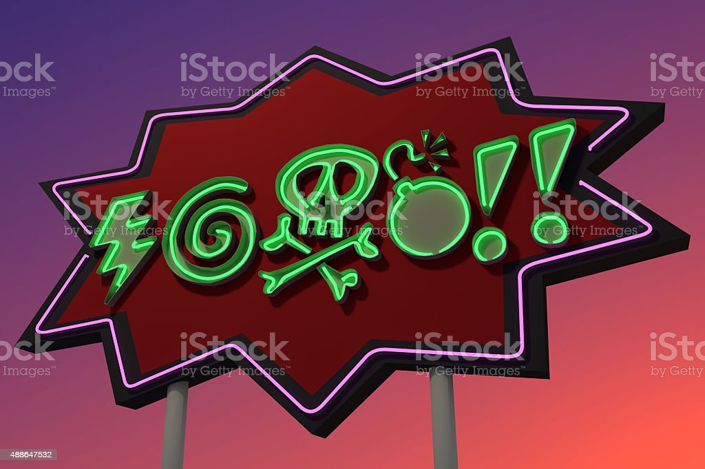 CURSES! Sound Effect Neon Sign stock photo