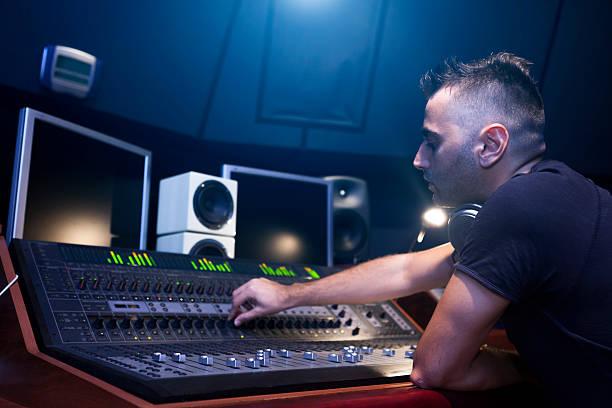 Sound Engineer Working stock photo