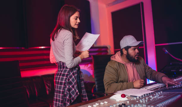 sound engineers working in music recording studio - producer stock pictures, royalty-free photos & images