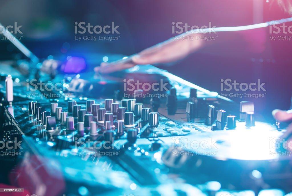DJ sound equipment at nightclubs stock photo
