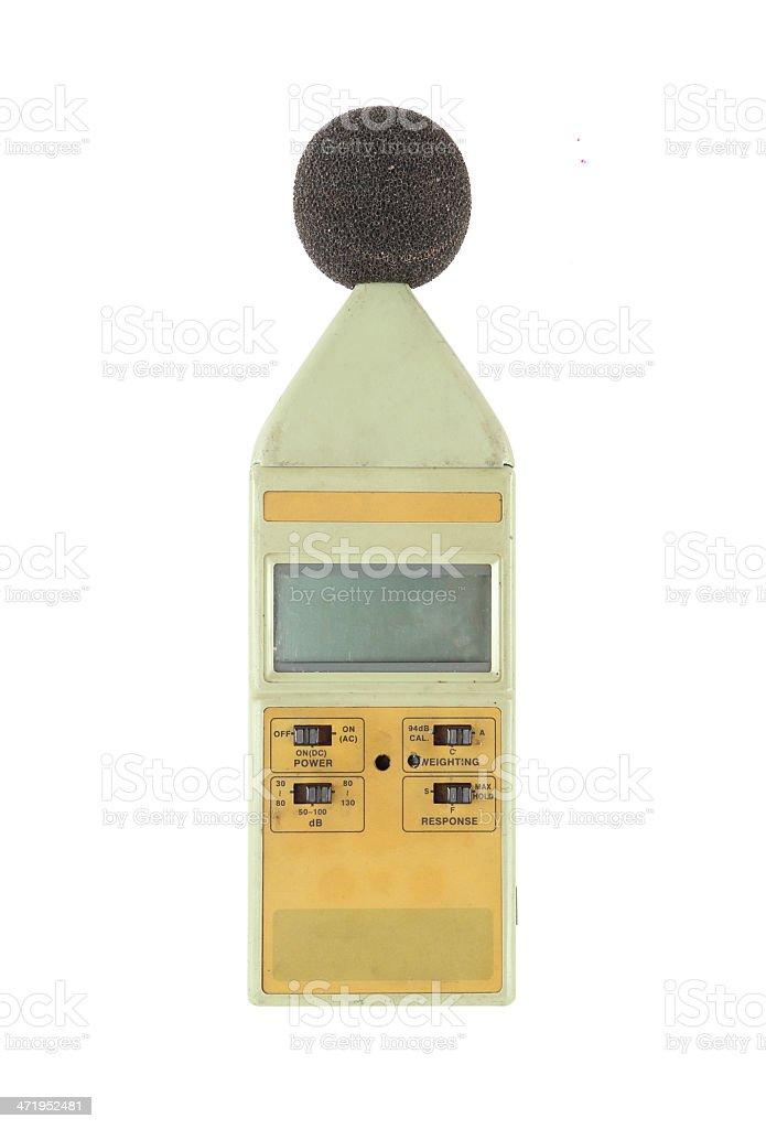 sound level meter on white background stock photo