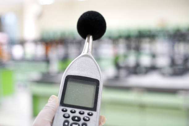 sound level meter. Measuring the noise in laboratory room with a sound level meter. meter instrument of measurement stock pictures, royalty-free photos & images