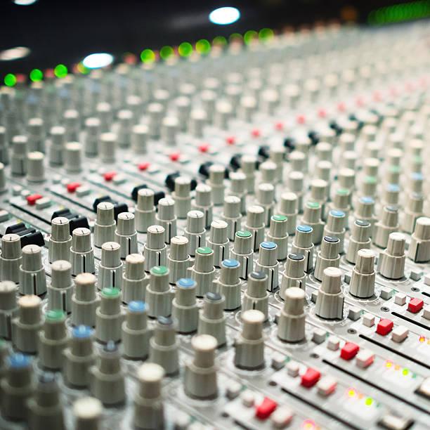 Sound mixer console in a recording studio stock photo