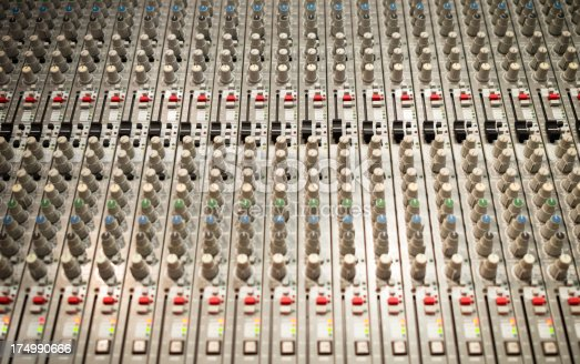 Professional recording studio with mixing console.