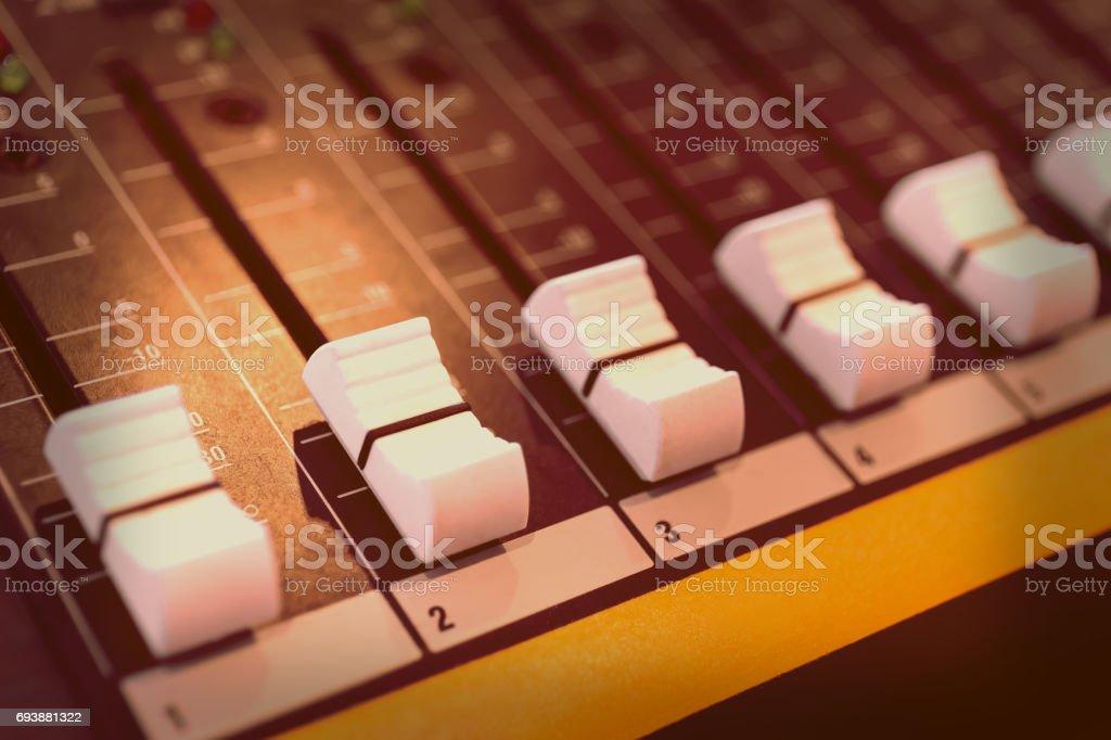 Sound mixer control panel stock photo