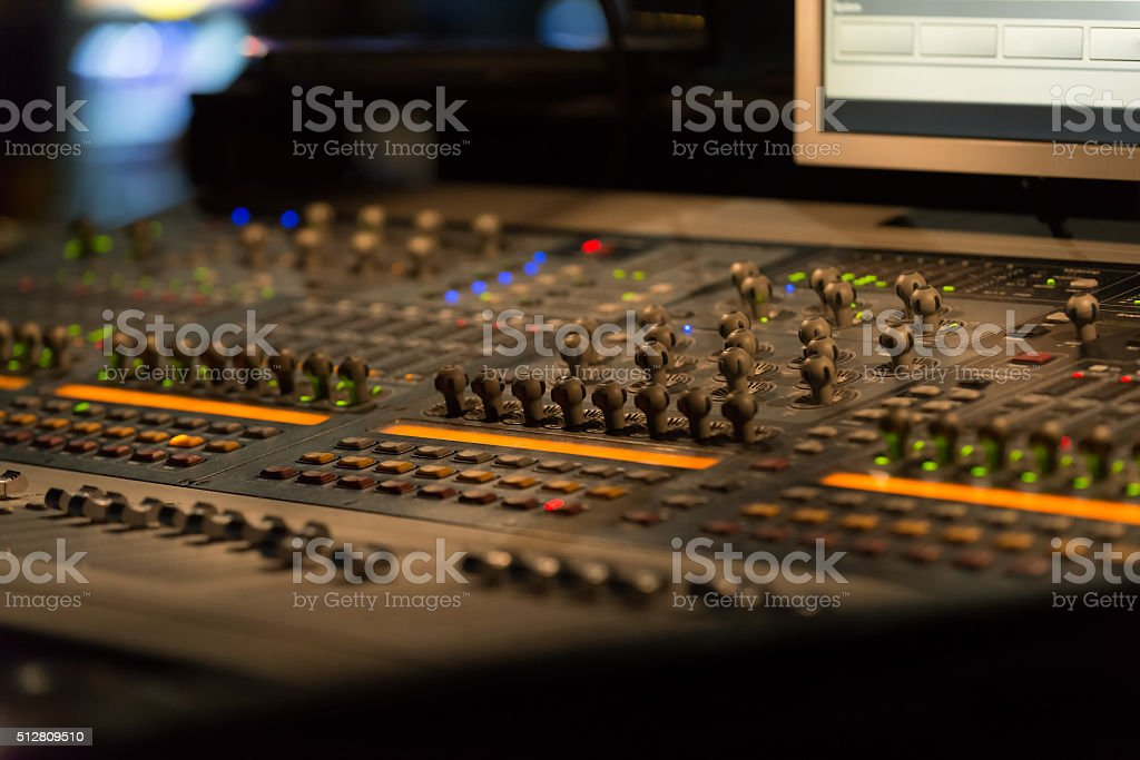 Sound mixer controller with knobs and sliders stock photo
