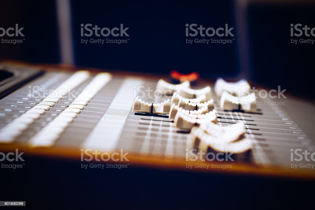 sound mixer fader, shallow dept of field stock photo