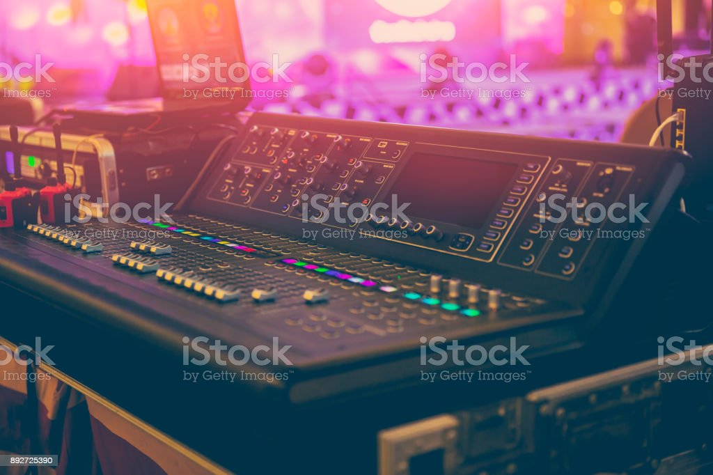 Sound Mixer Professional Sound Engineer in Event Concert Hall stock photo