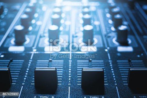 istock sound mixer. recording studio. 857425932