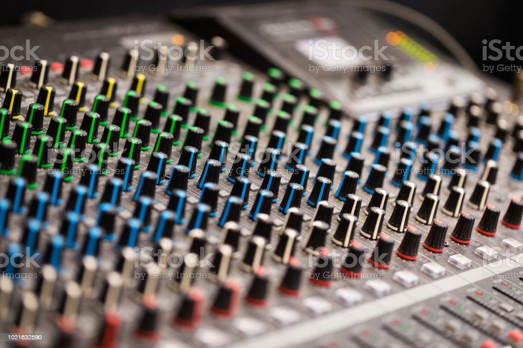 Sound Mixer Soundboard Close Up Stock Photo - Download Image