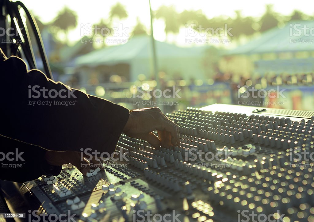 Sound mixing board at live event stock photo