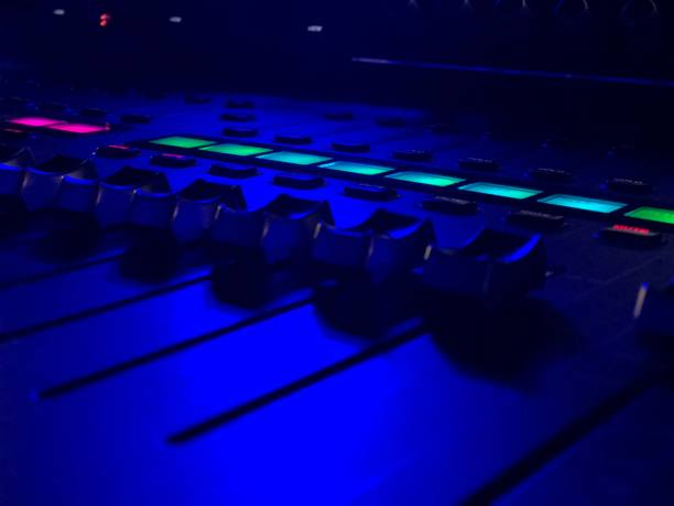 Sound Mixing Board With Neon Lights stock photo