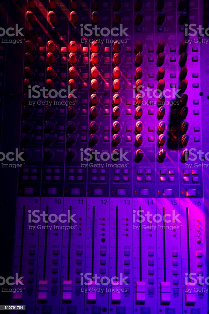 Sound music mixer control panel stock photo