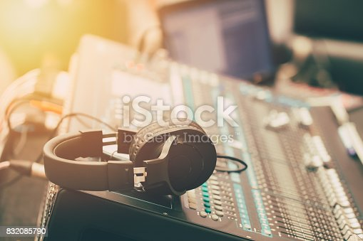 istock sound music mixer with headphone morning scene 832085790