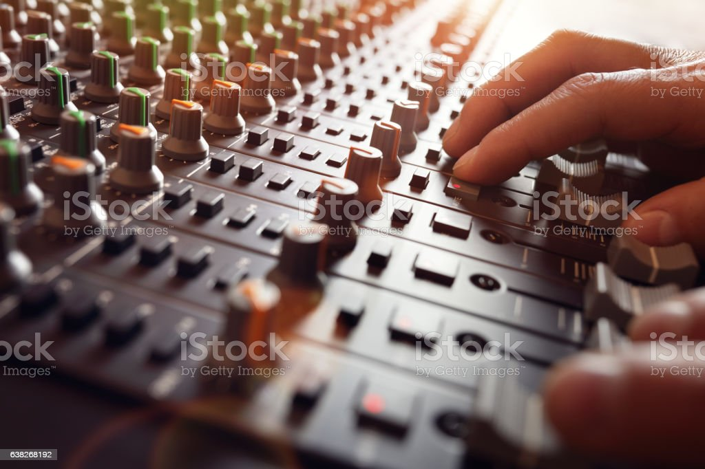 Sound recording studio mixer desk - Photo